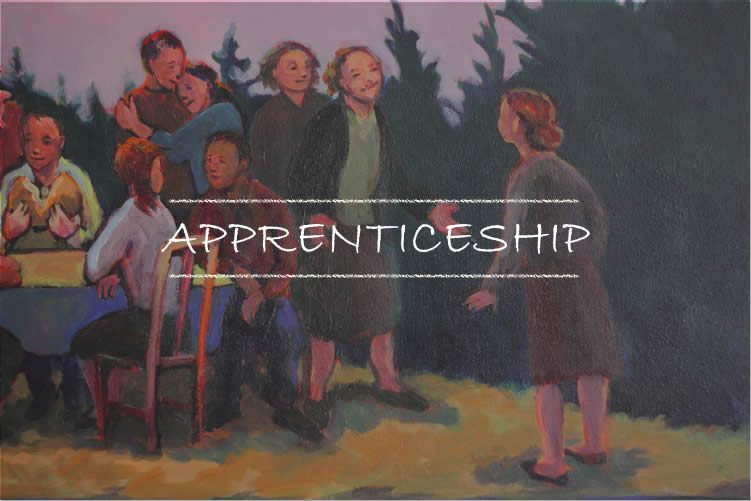 Link to Sojourners Apprenticeship page. Picture of family welcoming girl to the table.